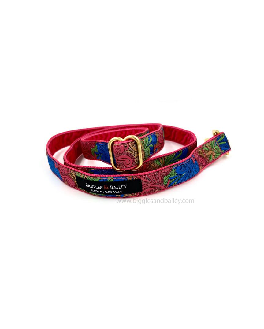 pink paisley dog lead