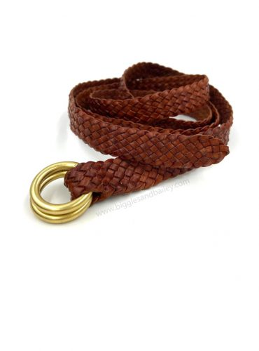 Kangaroo leather plait belt