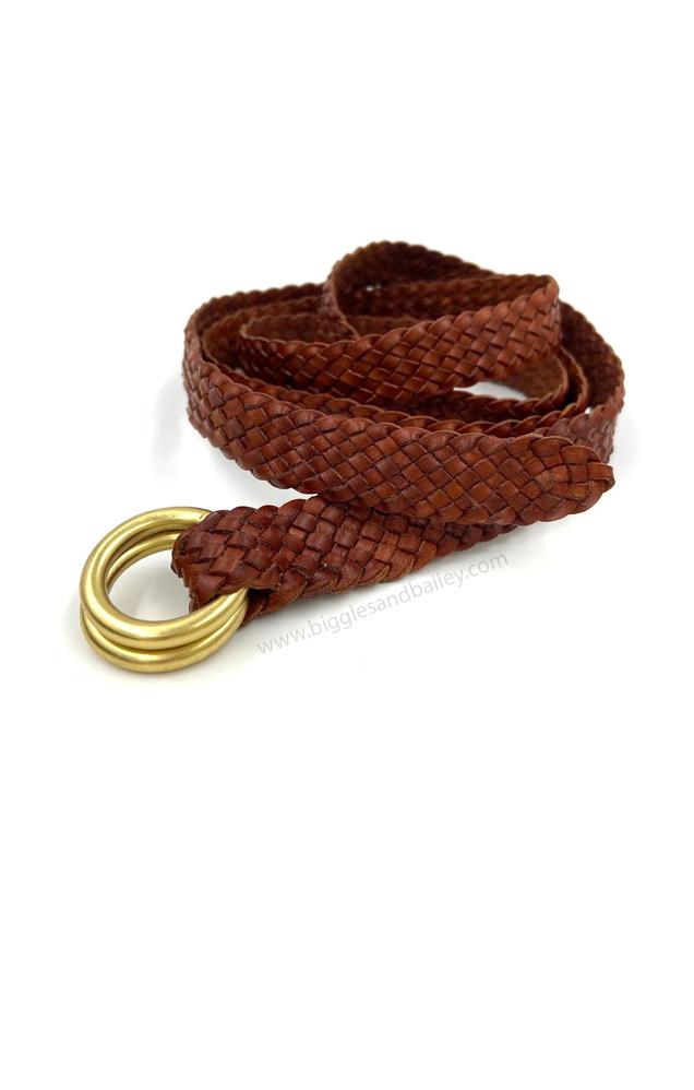 Kangaroo leather plait belt